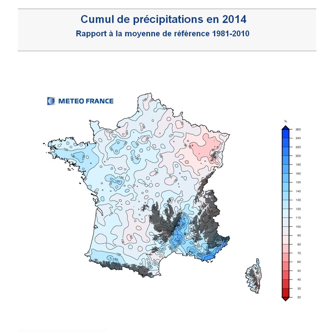 Carte France Rapport à la moyenne des cumuls de précipitations France 2014