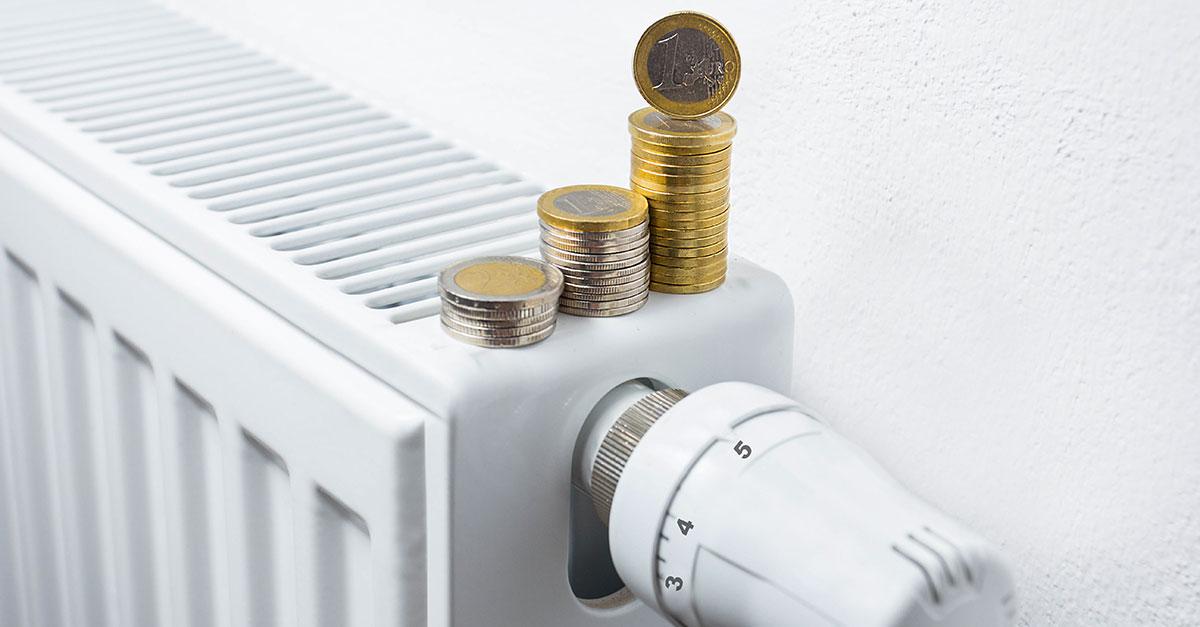 radiateur pile de pieces de monnaie euros