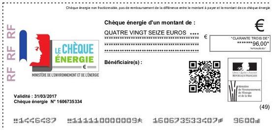 exemplaire d'un chèque énergie